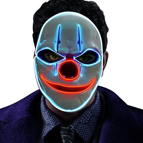 Halloween Masks - GOODNEW Halloween El Wire Light Up Clown Mask, Cosplay LED Mask for Festival