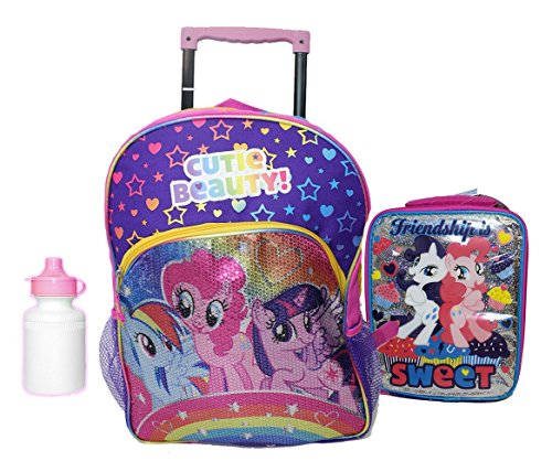 NEW My Little Pony Large Rolling Backpack w lunch case