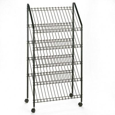 Safco - Mobile Literature Rack 32-1/2W X 15-1/4D X 63-1/2 Charcoal ''Product Category: Office Furniture/Display Racks & Cases''