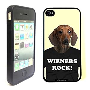 iPhone 4 4S Case ThinShell TPU Case Protective iPhone 4 4S Case Shawnex Daschund on Tshirt Weiners Rock