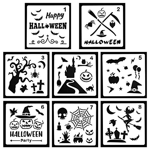 Petift Halloween DIY Decorative Stencils,Bullet Stencil Template Set,8 Pack - Pumpkin Pattern,Bat,Owl,Old Castle,Spider Web,Witch,Skeleton for DIY Drawing Painting Craft Projects Card -