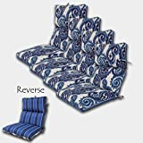 SET OF 4 22W x 44L x 5H Hinge at 24'' Spun Polyester Outdoor CHANNELED REVERSIBLE CHAIR CUSHION in Wickenburg Indigo-Sorista Indigo by Comfort Classics Inc.