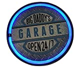 Big Daddy's Garage Open 24/7 LED Sign, 12' Round Bottle Cap Shaped ' Shaped Sign, LED Light Rope That Looks Like Neon, Wall Decor for Man Cave, Garage, Bar