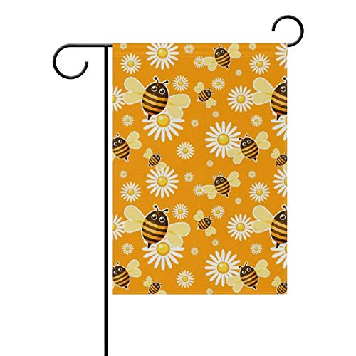 (Sdfr4 Cute Yellow Honey Bees Floral Daisy Flowers Polyester Welcome House Flag Banners for Patio Lawn Outdoor Home Decor,12x18 Inch)