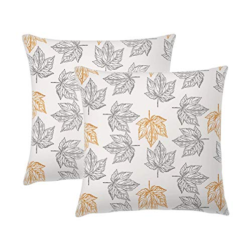 - J-MOOSE Autumn Thanksgiving Maple Leaves Fall Throw Pillow Covers 18 x 18 Inch Decorative Square Cotton Linen for Home Decor Design Set Cushion Case Sofa Bedroom Car,Set of 2 (Maple Leaves B)