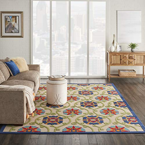 Nourison ALH19 Aloha Blue/Multicolor Easy-Care Indoor/Outdoor Area Rug 7'10