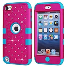 iPod Touch 5 Generation Case,Touch 5 Case,Lantier [Crystal Bling][Diamond Design][Soft Hard Tough Case] Hybrid Armor Case Cover for Apple iPod Touch 5 Fuchsia/Blue