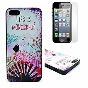 Life Wonderfull Pattern Hard Case with Clear Screen Protector for iPhone 5/5S