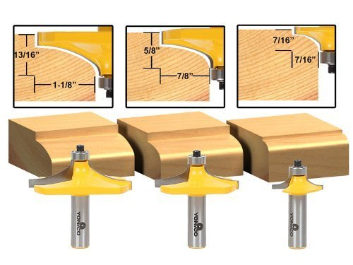 Yonico 13340 3 Bit Table Edge Thumbnail Router Bit Set with 1/2-Inch Shank - Edge Router Bit