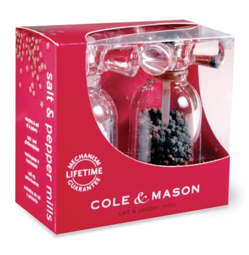 Cole and Mason H630180 Tap Clear-Acrylic Salt and Pepper Mill Set ()