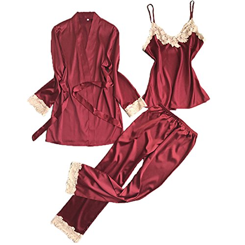 Price comparison product image JIANGTAOLANG Three Pieces Satin Lace Padded Pajamas Sets with Long Sleeve Bathrobe Sexy V-Neck Womens Nightwear R L