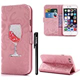 BtDuck iPhone 5 5S SE Case Glitter Pink Liquid Shell Bling Pattern Phone Protector Women Flip Folio Cover Anti-slip Shockproof Case Card Slots Magnetic Closure Slm Thin Cover