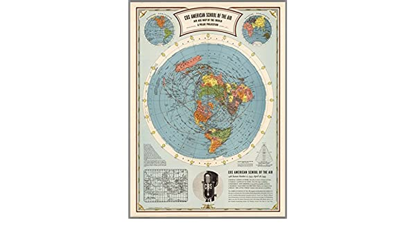 Amazon.com: Hammond CBS American School of The Air Flat Earth Map