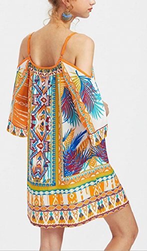 Womens Jaycargogo Summer Tribal Cold As Strap Dress Sleeve Shoulder Spaghetti Picture Shift drraZw