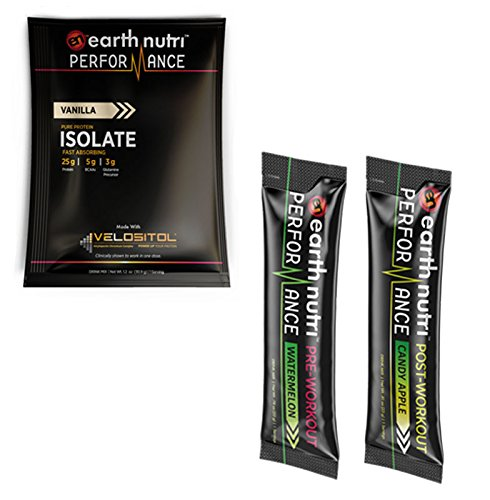 EarthNutri Performance Sample Pack: Includes 1 Whey Isolate Protein Sample, 1 Pre-Workout Sample, and 1 Post-Workout Sample (Vanilla Protein Sample)