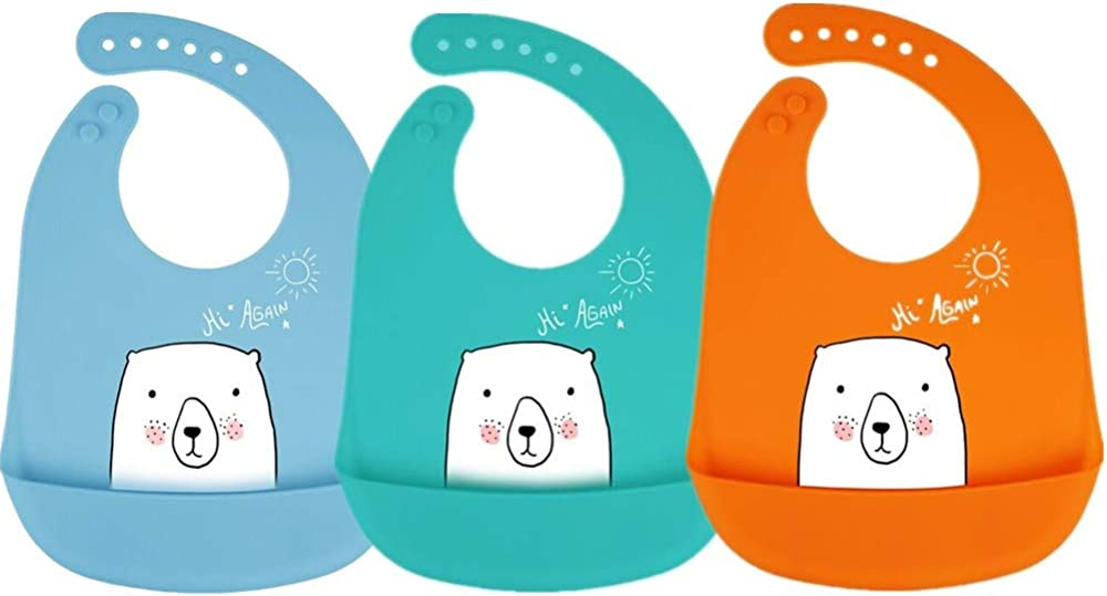 6 to 72 Months 3 PC Waterproof Silicone Baby Bibs,BPA Fre Easily Wipe Clean for Boys Girls