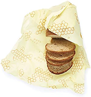 product image for Bee's Wrap Reusable Bread Wrap, Eco Friendly Reusable Beeswax Food Wrap, Sustainable, Zero Waste, Plastic Free Bread Keeper & Food Storage (Honeycomb Print)