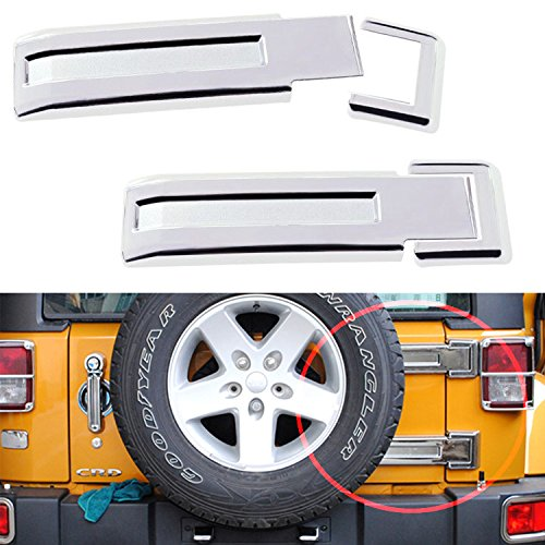 Accessory Trim Spare Tire Chrome - MOEBULB Tailgate Hinge Cover Spare Tire Rear Door Liftgate Trim for 2007-2017 Jeep Wrangler JK & Unlimited (Silver,2-Pack)