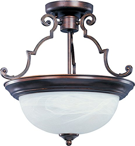 Marble Semi Flush - Maxim 5843MROI Essentials 2-Light Semi-Flush Mount, Oil Rubbed Bronze Finish, Marble Glass, MB Incandescent Incandescent Bulb , 60W Max., Dry Safety Rating, Standard Dimmable, Linen Fabric Shade Material, Rated Lumens