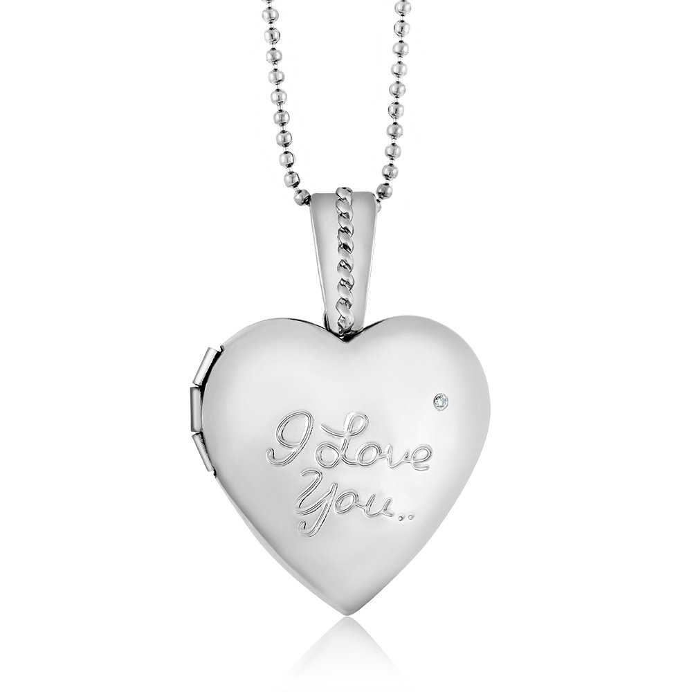 Gem Stone King Stunning Diamond''I Love You'' Heart Engraved Locket Pendant With 28'' Chain by Gem Stone King