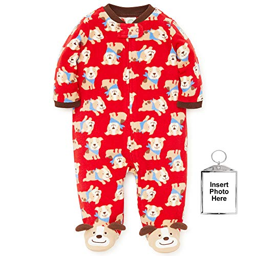 Infant Dog Blankets (Little Me Warm Fleece Baby Pajamas Footed Blanket Sleeper Footie Red Puppy Dog 3 Months)