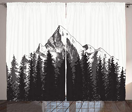 Ambesonne Primitive Curtains, Mountain with Fir Forest and Arrow Folk Style Retro Print, Living Room Bedroom Window Drapes 2 Panel Set, 108