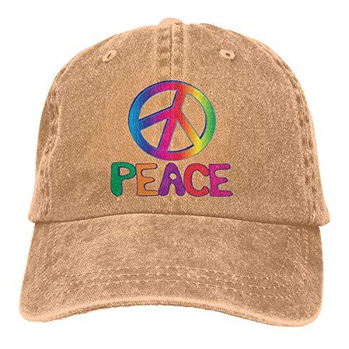 (Men Women Washed Denim Fabric Baseball Cap Rainbow Tie Dye Peace Sign Dad)