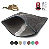 WePet Cat Litter Mat, Kitty Litter Trapping Mat, Large Size, Honeycomb Double Layer Mats, No Phthalate, Urine Waterproof, Easy Clean, Scatter Control, Catcher Litter Box Rug Carpet 30x25 Inch Grey