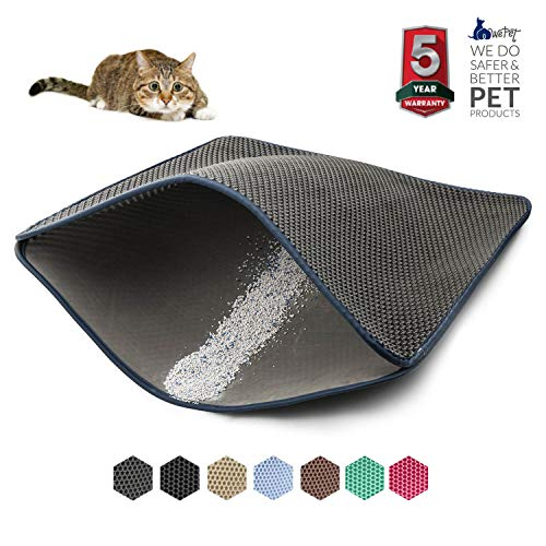 WePet Cat Litter Mat, Kitty Litter Trapping Mat, Large Size, Honeycomb Double Layer Mats, No Phthalate, Urine Waterproof, Easy Clean, Scatter Control, Catcher Litter Box Rug Carpet 30x25 Inch Grey (Best Robot Vacuum For Cat Litter)