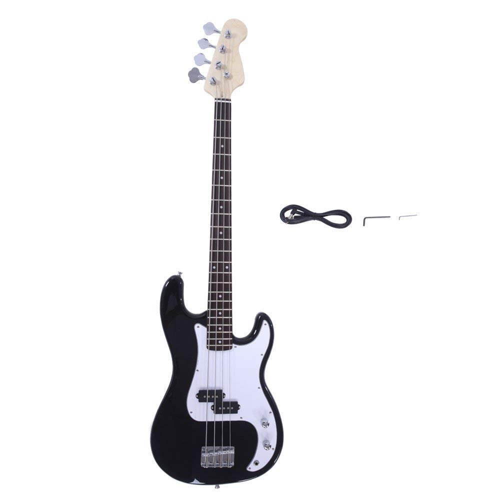 Yoshioe Electric Bass Guitar Full Size 4 String Rosewood Basswood Fire Style Exquisite Burning Bass (Black)