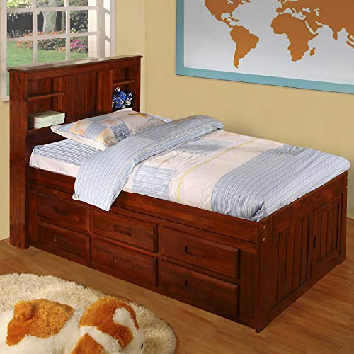 (American Furniture Classics Merlot Solid Pine Twin-Sized Captain's Bed with 12 Drawers)