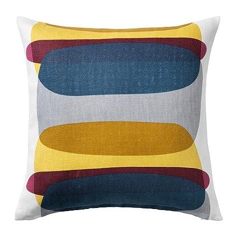IKEA MALIN FIGUR - Funda de cojín, azul / gris, amarillo ...