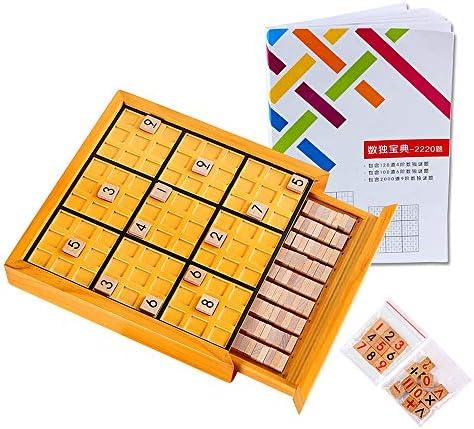 AEGILMC Sudoku de Madera Juego de Puzzle, Caja de Juguete Educativo con Cajón Número Cubos Azulejos, Juegos de Mesa para Adolescentes,Yellow: Amazon.es: Hogar