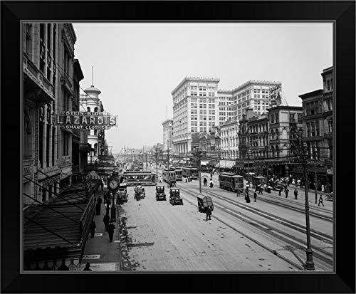 CANVAS ON DEMAND Vintage Photograph of Canal Street, New Orleans, Louisiana Black Framed Art Print, ()