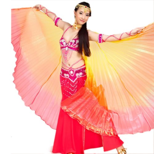[BellyLady Belly Dance Costume Isis Wings, Professional Dance Wings with Sticks RED] (Golden Belly Dancer Costumes)