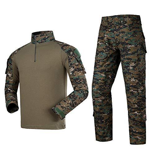 Men Tactical Uniform Military Airsoft Combat BDU Long Sleeve T-Shirt and Pant Set Digital Jungle 2XL