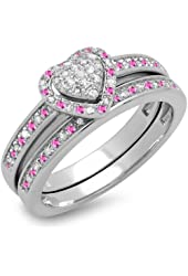 Sterling Silver Round Pink Sapphire & White Diamond Ladies Heart Shaped Bridal Engagement Ring Set