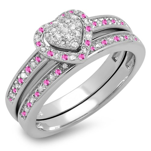 Sterling Silver Pink Sapphire & White Diamond Ladies Heart Shaped Bridal Engagement Ring Set (Size 7)