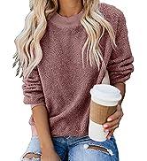 GRAPENT Women's Casual Crewneck Fuzzy Fleece Sweatshirt Terry Thread Pullover Top