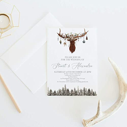 Christmas Wedding Invitations.Amazon Com Rustic Christmas Wedding Invitations Christmas