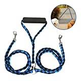 Double Dog Leash - Dog Leash 2 Dogs,Focuspet Double Dog Leash 4.6 ft 2 Way No Tangle Coupler Double Pet Dog Puppy Lead Leashes Twin Leash For Large Medium Small Dogs Blue