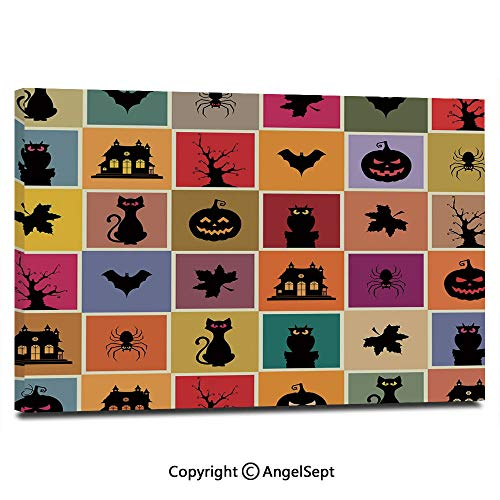 Canvas Prints Modern Art Framed Wall Mural Bats Cats Owls Haunted Houses in Squraes Halloween Themed Darwing Art Decorative Wall Decorations for Living Room Bedroom Dining Room Bathroom Office,Multi]()