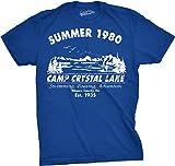 Mens Summer 1980 Mens Funny T shirts Camping Shirt Vintage Horror Novelty Tees (Blue) L