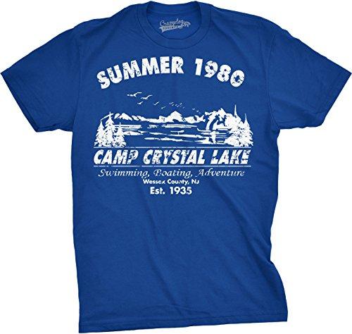 Mens Summer 1980 Mens Funny T Shirts Camping Shirt Vintage Horror Novelty Tees (Blue) 3XL