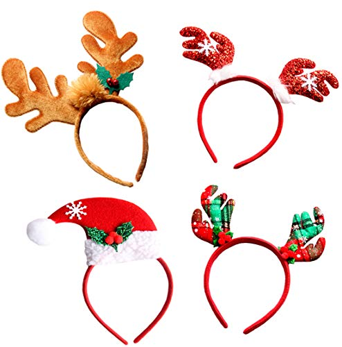 (Christmas Headbands, Jeniulet 4 Pack Reindeer Antler and Santa Hat Headband Hats for Kids Adults)