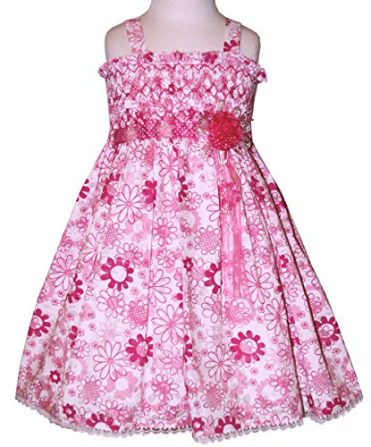 Carouselwear Girls Hand Smocked Sundress In Floral Hot Pink Cotton Fabric