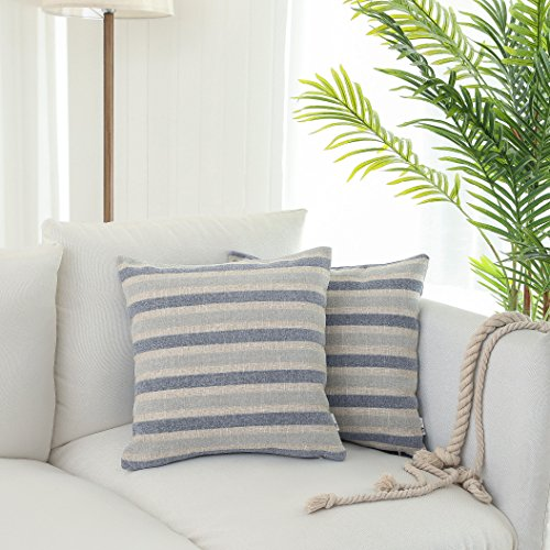 Kevin Textile Decor Linen 2 Tone Striped Chenille Throw Pillow Cover Home Soft Cushion Covers Sham Solid Pillow Case for Sofa/Bed, 2 Pieces, 18x18 inch, Little Boy Blue