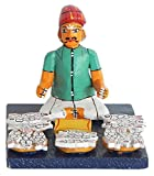 DollsofIndia Fish Seller - Kondapalli Wooden Doll - 4.5 x 3.75 x 3.5 inches