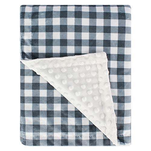 Super Soft Minky Baby Blanket, with Double Layer Dotted Backing, Plush Receiving Blanket for Boys, Girls, Newborns, Toddlers, Nursery, Bedding (Plaid Blue/Grey, 30 x 40 Inch)