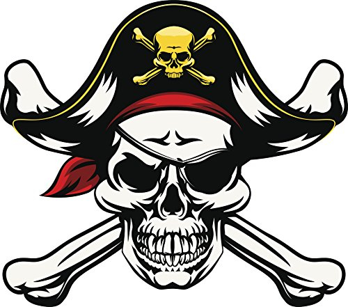 "Pirate Skull and Crossbone with Eye Patch and Captain Hat Vinyl Decal Sticker (12"" Wide)"